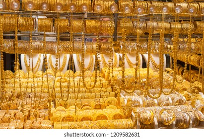 the gold souk or market in Dubai city, Deira. United Arab Emirates