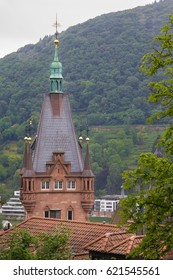 gold spheres adorn this spire in Heidelberg Germany