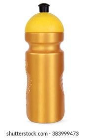 gold sports water bottle, isolated on white background