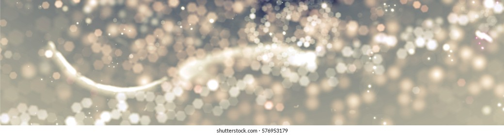 Gold spring or summer background. Elegant abstract background with bokeh defocused lights. Panorama