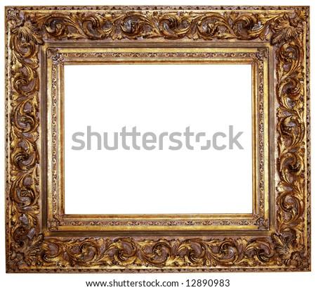 Gold Square Antique Picture Frame Cutout Stock Photo (Edit Now ...
