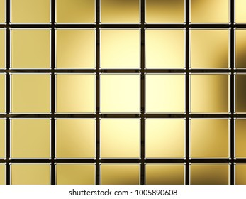 Gold square blocks abstract background. 3D illustration.