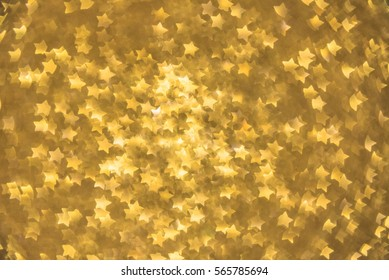 Gold Star bokeh background. Modern, abstract flat design for card or website.