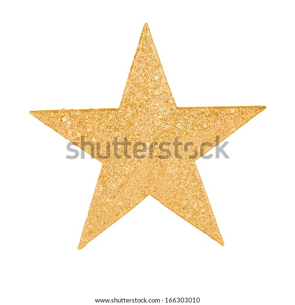A gold star to decorate a Christmas tree.