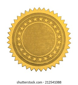 Gold Star Seal with Stars and Copy Space Isolated on White Background.