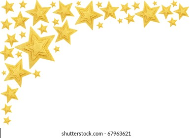Gold stars border isolated on white