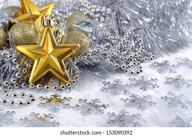 Gold stars and Christmas balls for decoration