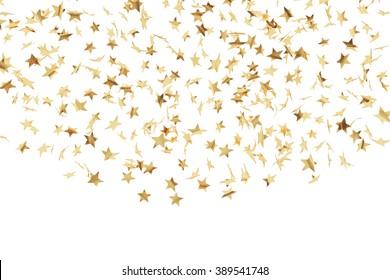 Gold stars confetti flying ower white background