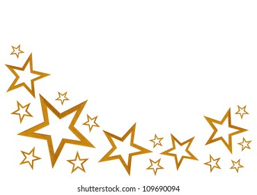 Gold stars isolated on white background with room for your text