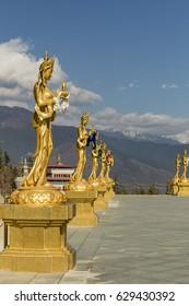 Gold statutes near Big Buddha point in Thimphu, Bhutan.