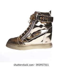 gold stylish sneakers