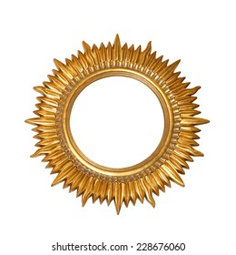 Gold sun frame isolated included clipping path
