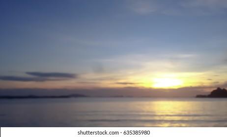 gold sun light and the beach blur view