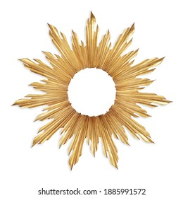 Gold Sunburst Venetian Accent Wall Mirror in Sun-Ray Frame Isolated. Decorative Golden Sun Vintage Art Deco Beveled Round Mirror for Living Room and Bedrooms. Wall Mounted Classic Circular Mirror - Shutterstock ID 1885991572