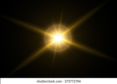 Gold sunlight flare in black background