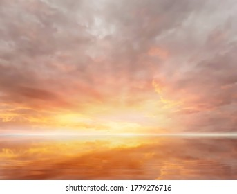 gold sunset summer sky pink orange  evening  clouds reflection on sea water beautiful nature landscape