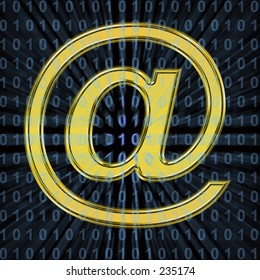 Gold @ symbol on black background, with blue binary code.