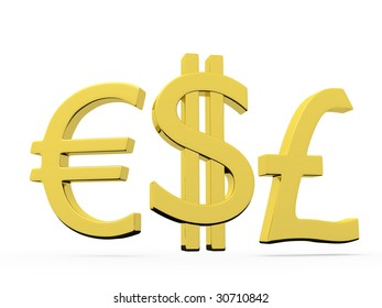 Gold symbols of euro dollar and sterling