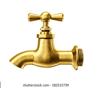 gold tap isolated on a white background