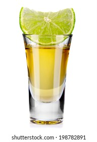 Gold tequila shot with lime isolated on white background