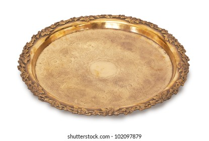 gold tray isolated on white