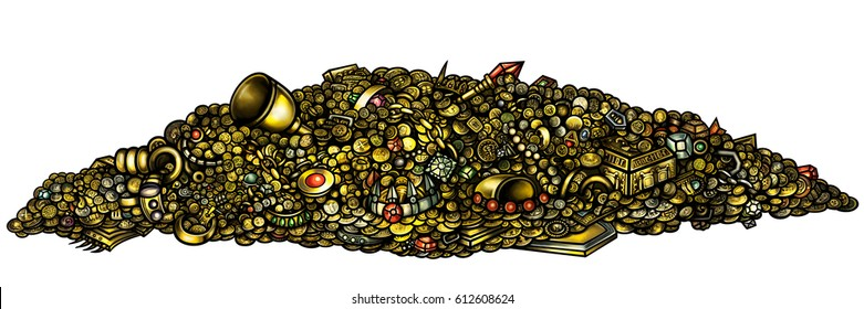 Gold treasure with gems and coins. Illustration pile of treasure with gold, jewelry, gems, coins, artefacts