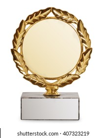 gold trophy with laurel wreath isolated on white background. Sports award