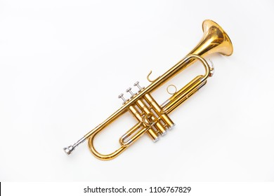 gold trumpet on white background