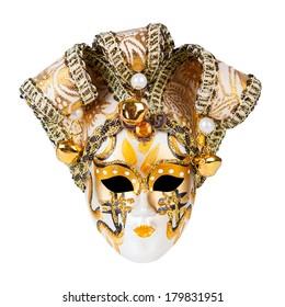 Gold Venetian mask isolated on white background