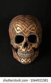 Gold viking plaster skull - front