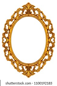 Gold vintage frame isolated on white background, including clipping path