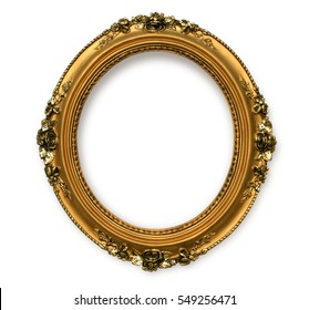 Gold vintage frame isolated on white background with clipping path