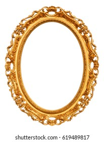 Gold vintage frame isolated on white -Clipping Path