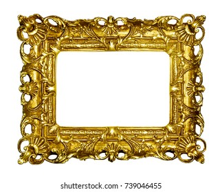 Gold vintage picture frame isolated on white background