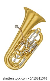 Gold vintage tenor horn tuba isolated on a white background. Music instruments series