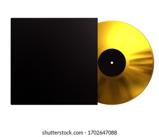 Gold Vinyl Disc Mock Up. Vintage LP Vinyl Record with Black Cover Sleeve and Black Label Isolated on White Background. 3D Render.