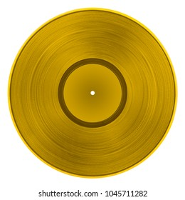 Gold vinyl record isolated on white background. Top view.