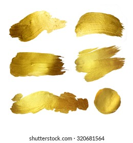 Gold watercolor texture paint stain abstract illustration set. Shining brush stroke for you amazing design project