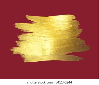 Gold watercolor texture paint stain abstract illustration red background. Shining brush stroke for you amazing Merry Christmas and Happy New Year design project