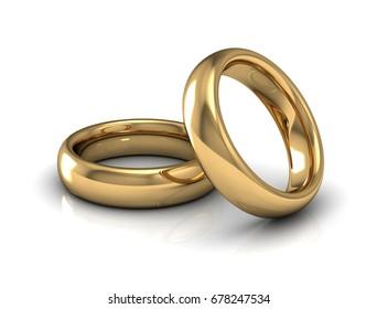 Gold wedding ring on white background.3d illustration