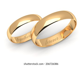 Gold wedding rings engraved with the text forever together.