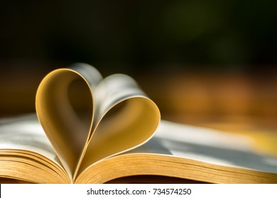 Gold wedding rings, heart book, background blur