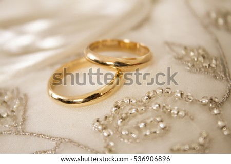 Gold Wedding Rings On White Cloth Stock Photo Edit Now 536906896