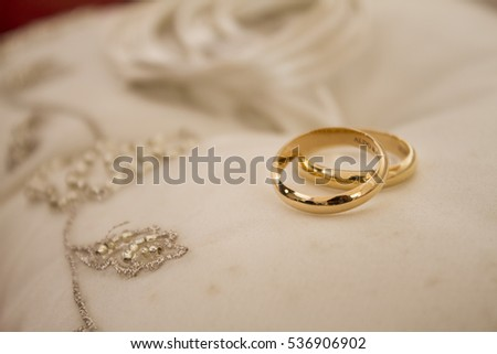 Gold Wedding Rings On White Cloth Stock Photo Edit Now 536906902
