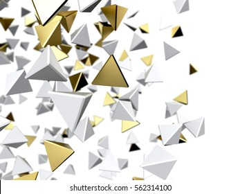 Gold and white particles. Isolated on white background. 3d rendering