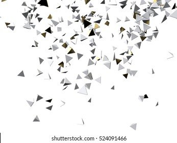 Gold and white pyramid macro particles. Isolated on white background. 3d rendering