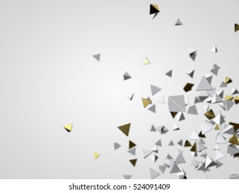 Gold and white pyramid particles. Futuristic background. 3d rendering