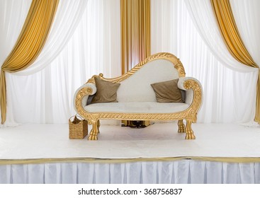 Stage decoration images stock photos vectors shutterstock gold and white themed wedding stage junglespirit Images