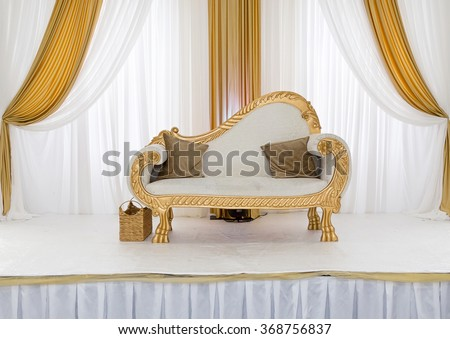 Gold White Themed Wedding Stage Stock Photo Edit Now 368756837