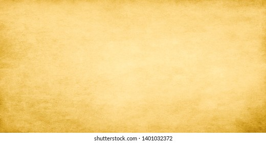 Gold wide grunge vintage paper. Old stained papyrus wallpaper for design work with copy space.